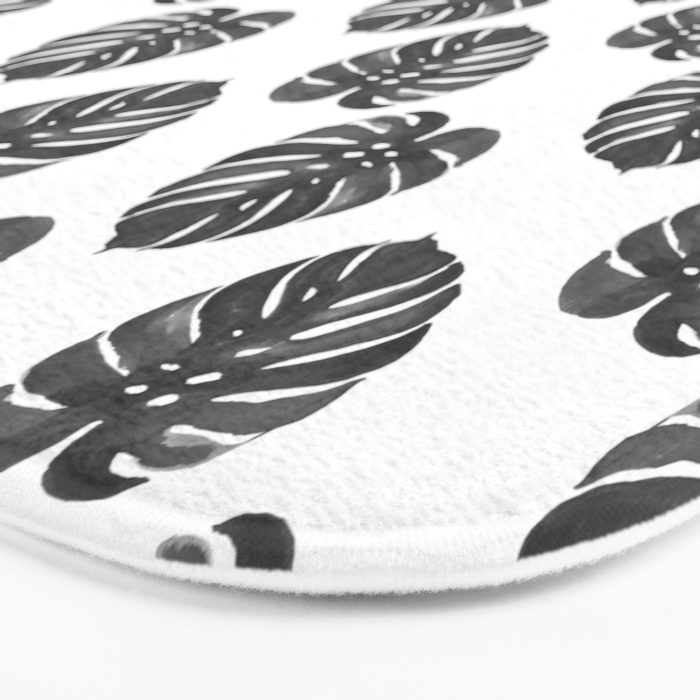 Monstera house plant leaf black and white painting  hipster indoor house plant tropical garden   Bath Mat