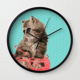 Messy Lil Cat Wall Clock