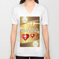 madrid V-neck T-shirts featuring Madrid 01 by Daftblue