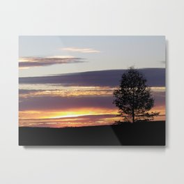 Sunset With Tree Metal Print