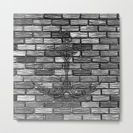 Black Anchor Brickwall Metal Print