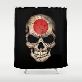 Dark Skull with Flag of Japan Shower Curtain