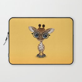 Cute Curious Baby Giraffe Wearing Glasses Laptop Sleeve