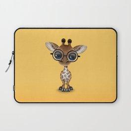 Cute Curious Baby Giraffe Wearing Glasses Laptop Sleeve