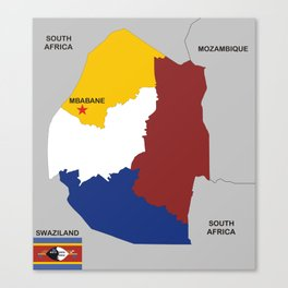 political map of swaziland country with flag Canvas Print