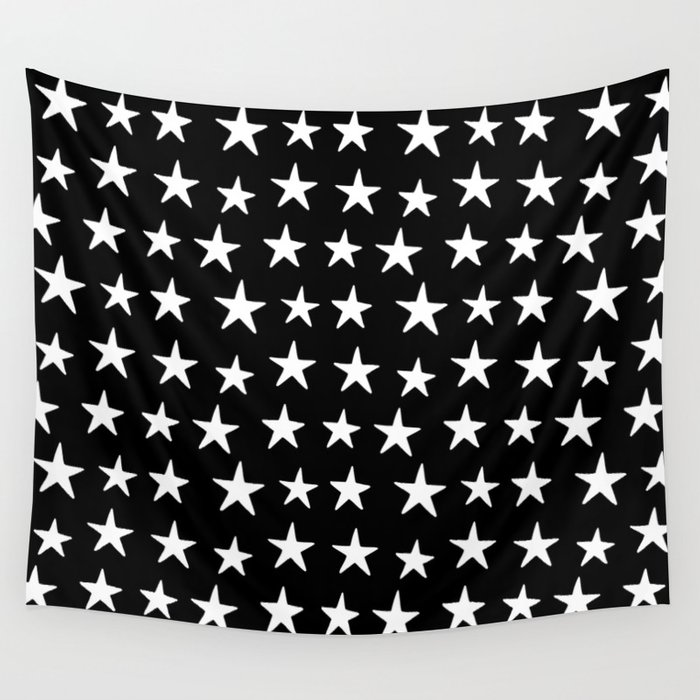 Star Pattern White On Black Wall Tapestry