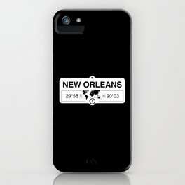 New Orleans Louisiana Map GPS Coordinates Artwork iPhone Case