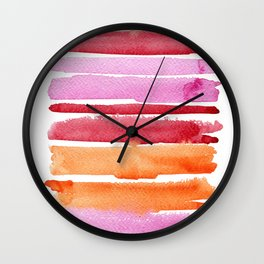 Summer stripes in pink and orange Wall Clock
