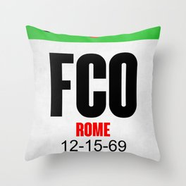 FCO Rome Luggage Tag 1 Throw Pillow