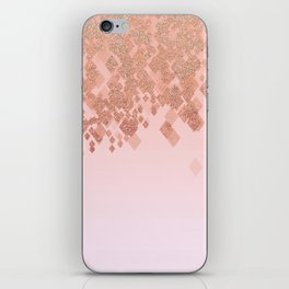 Light Salmon Pink Gradient Faux Glitter Diamonds iPhone Skin