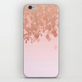 Light Salmon Pink Gradient Faux Glitter Diamonds iPhone Skin