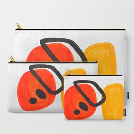 Midcentury Modern Colorful Abstract Pop Art Space Age Fun Bright Orange Yellow Colors Minimalist Carry-All Pouch