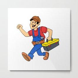 Happy running handyman cartoon illustration Metal Print