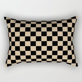 Black and Tan Brown Checkerboard Rectangular Pillow