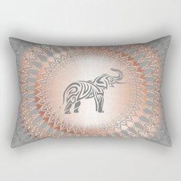 Rose Gold Gray Elephant Mandala Rectangular Pillow