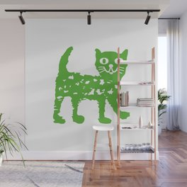 Green cat design, green cat pattern Wall Mural