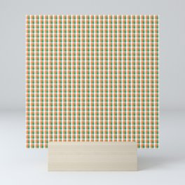 Small Orange White and Green Irish Gingham Check Plaid Mini Art Print