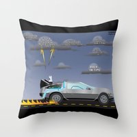 delorean Throw Pillows featuring Delorean Song by thewhitewolf90