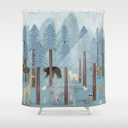 little blue forest Shower Curtain