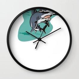 Shark Nailed It Hammerhead Shark Gift Wall Clock