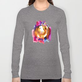 Guinea Pig in Flower Crown Long Sleeve T-shirt