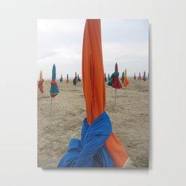 Parasols in Deauville, France (2008d) Metal Print
