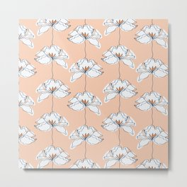 Hygge Abstract Blush Flower Meadow  Metal Print