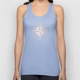 Rose Gold on White Compass Unisex Tank Top