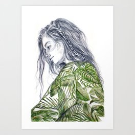 Tropical Palm Print Portrait Art Print