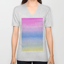 Hand painted pink blue yellow ombre watercolor paint Unisex V-Neck
