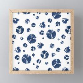 Shibori Polka Splotch Indigo Blue Framed Mini Art Print