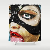 catwoman Shower Curtains featuring Catwoman by Ed Pires
