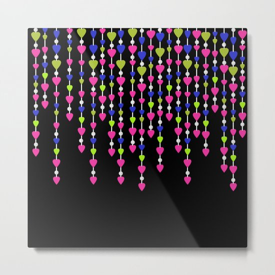 Pearl beads and hearts .2 Metal Print