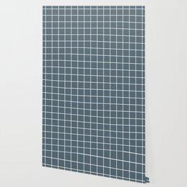 Cadet - grey color - White Lines Grid Pattern Wallpaper