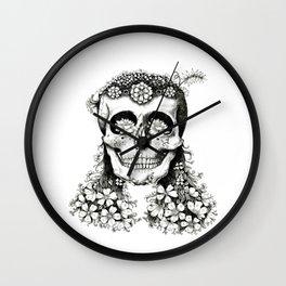 Flowered Skull - Nature Inspired - Tribal  Wall Clock