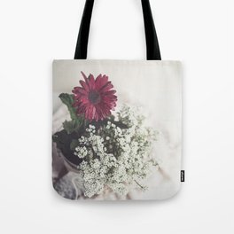 Red Daisy Soft and Airy Square Tote Bag