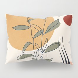 Minimal Line Young Leaves Pillow Sham