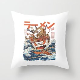 The Great Ramen Throw Pillow