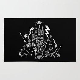 Spiritual Hand Black and White Rug