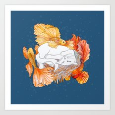 Cat dreams Art Print