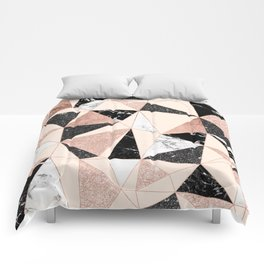 Modern black white marble rose gold glitter foil geometric abstract triangles pattern Comforters