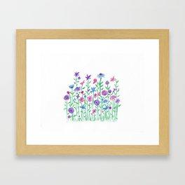 Cheerful spring flowers watercolor Framed Art Print