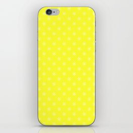 White on Electric Yellow Snowflakes iPhone Skin