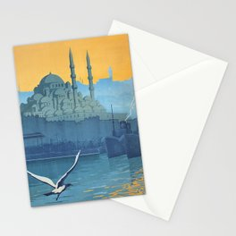 Mid Century Modern Travel Vintage Poster Istanbul Turkey Grand Mosque Stationery Cards