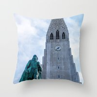 iron giant Throw Pillows featuring Járn Risastór (Iron Giant) by Alex Tonetti Photography