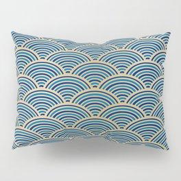 Festive, Art Deco, Wave, Pattern, Blue and Gold Pillow Sham