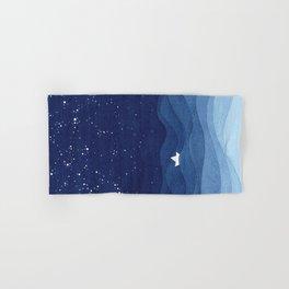 blue ocean waves, sailboat ocean stars Hand & Bath Towel