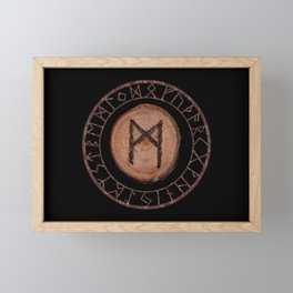 Mannaz - Wooden Celtic Rune of self, individuals, universe, family, loved ones, friends, devoted Framed Mini Art Print