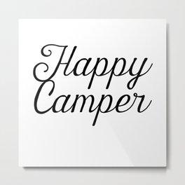 Happy Camper Drawn Script Metal Print