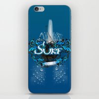 surfing iPhone & iPod Skins featuring Surfing by nicky2342